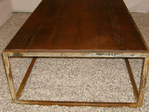 table basse metal rouillé 950