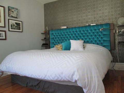 tete de lit capitonnée merisier russe teint et velour